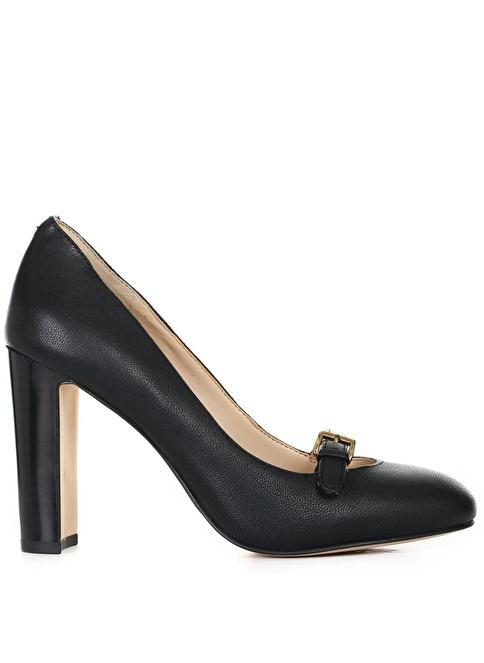 Nine West Kalın Topuklu Deri Ayakkabı Siyah